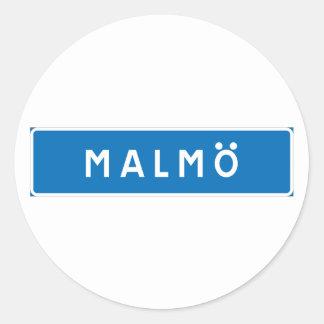 Malmo, Swedish road sign Classic Round Sticker