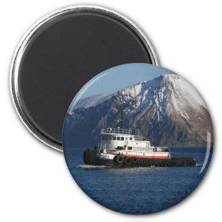 Malolo, Tugboat in Dutch Harbor, AK 6 Cm Round Magnet