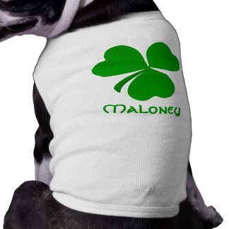 Maloney Irish Shamrock Name Sleeveless Dog Shirt
