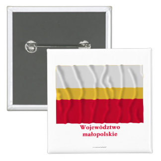 Małopolskie - Lesser Poland waving flag with name 15 Cm Square Badge