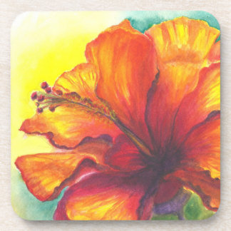 Malorie Arisumi Hibiscus watercolor coaster, Maui Coaster