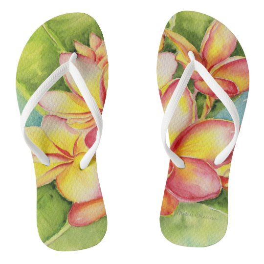 Malorie Arisumi plumeria watercolor slippers Flip Flops