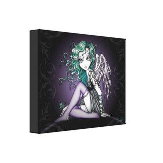 """Malory"" Cute Green Tattoo Angel Canvas Print"