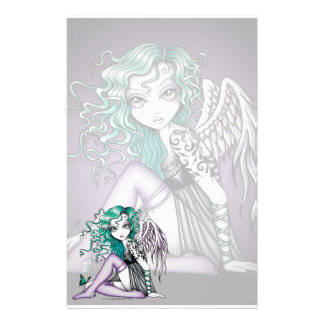 """Malory"" Cute Tattoo Violet Angel Art Stationery"