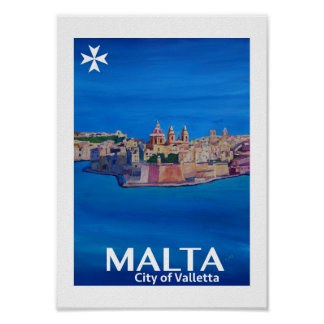 Malta City of Valetta Retro Poster