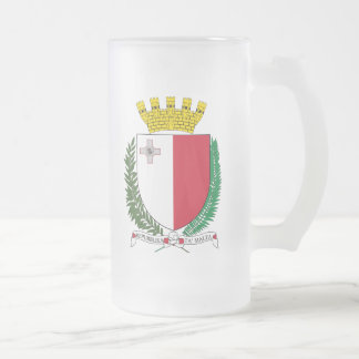 Malta Coat Of Arms Frosted Glass Beer Mug