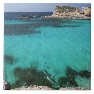 Malta, Comino Island, The Blue Lagoon Large Square Tile