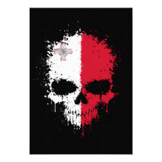 Malta Dripping Splatter Skull Custom Invitations