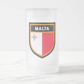 Malta Flag Frosted Glass Beer Mug