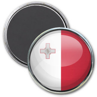 Malta Flag Glass Ball 7.5 Cm Round Magnet