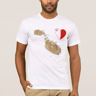 Malta Flag Heart and Map T-Shirt