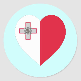 Malta Flag Heart Classic Round Sticker