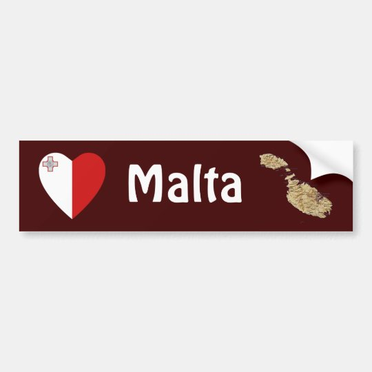 Malta Flag Heart + Map Bumper Sticker