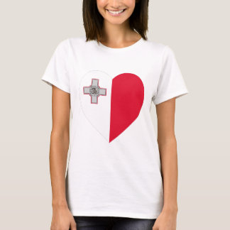 Malta Flag Heart T-Shirt