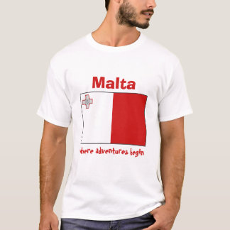 Malta Flag + Map + Text T-Shirt