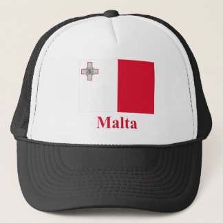 Malta Flag with Name Trucker Hat