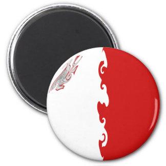 Malta Gnarly Flag 6 Cm Round Magnet