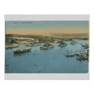 Malta - Grand Harbour, Vintage Full Color Flyer