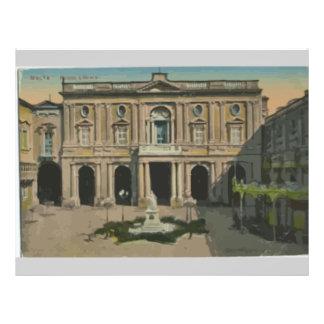 Malta - Library, Vintage 21.5 Cm X 28 Cm Flyer