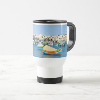 Malta Scenic View Traditional Boats Travel Mug