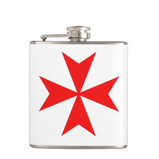 malta templar knights red cross religion symbol hip flask