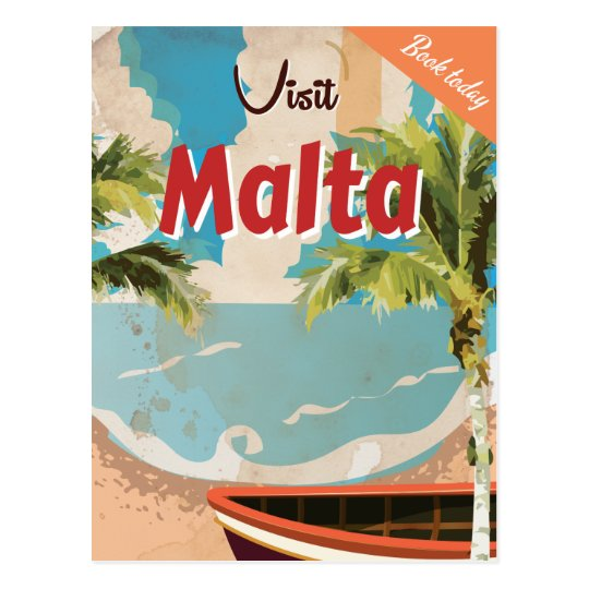 Malta vacation Vintage Travel Poster. Postcard