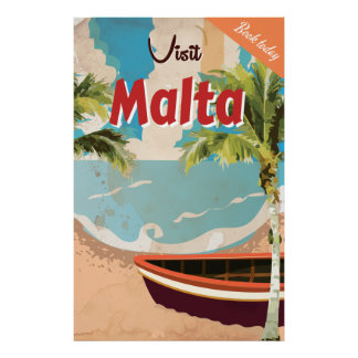 Malta vacation Vintage Travel Poster. Poster