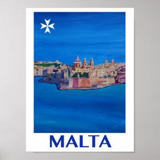 Malta Valetta Retro Poster