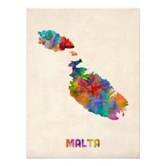 Malta Watercolor Map Photo Print