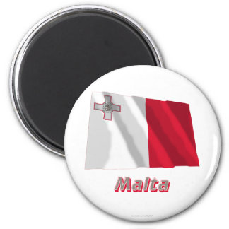 Malta Waving Flag with Name 6 Cm Round Magnet
