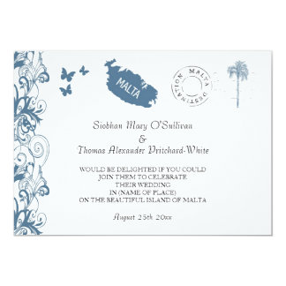 Malta Wedding Invitation In Malta Blue