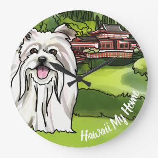 Maltese at Byodo-In Temple (Personalize Text) Large Clock