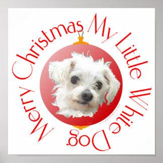 Maltese Christmas Little White Dog Print