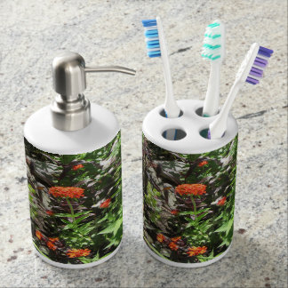 Maltese Cross and Rose Barberry toothbrush/dispens Bathroom Set