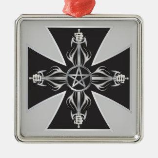 Maltese Cross Silver-Colored Square Decoration