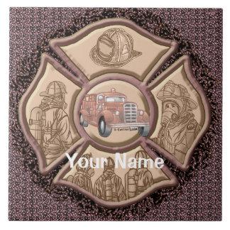 Maltese Cross Firefighter Large Square Tile