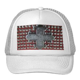 MALTESE CROSS ON STUDS ON RED hat
