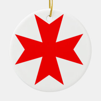 Maltese Cross Round Ceramic Decoration