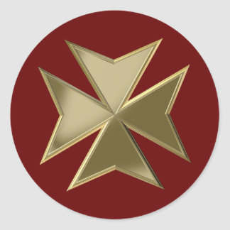 Maltese cross round sticker