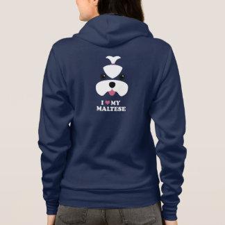 Maltese cutesy face with slogan hoodie