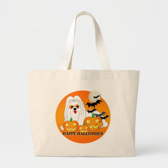 Maltese Dog Halloween Large Tote Bag