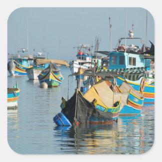 Maltese Fishing Boats   Marsaxlokk In Malta Square Sticker