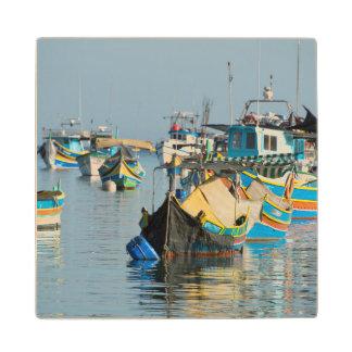 Maltese Fishing Boats | Marsaxlokk In Malta Wood Coaster