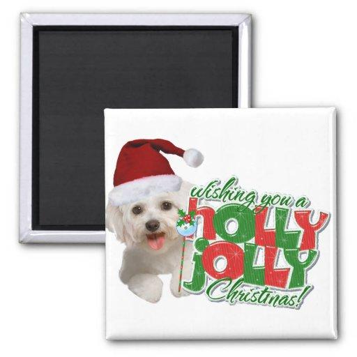 Maltese Have Holly Jolly Christmas Fridge Magnets