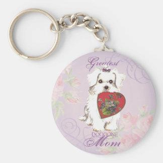 Maltese Heart Mom Basic Round Button Key Ring