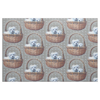 Maltese in a Basket fabric