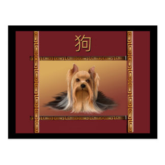 Maltese on Asian Design Chinese New Year, Dog Postcard