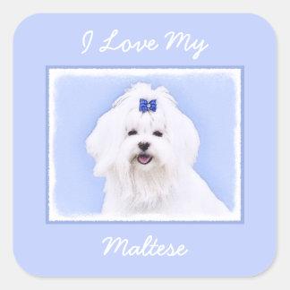 Maltese Painting - Cute Original Dog Art Square Sticker