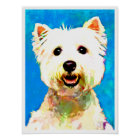 "Maltese Pop Art Watercolor 18"" x 24"" Poster"