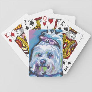 Maltese Pop Dog  Art Playing Cards